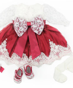 Rotes Taufkleid Set